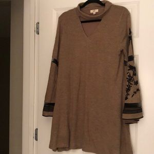 Brown turtle neck shift dress